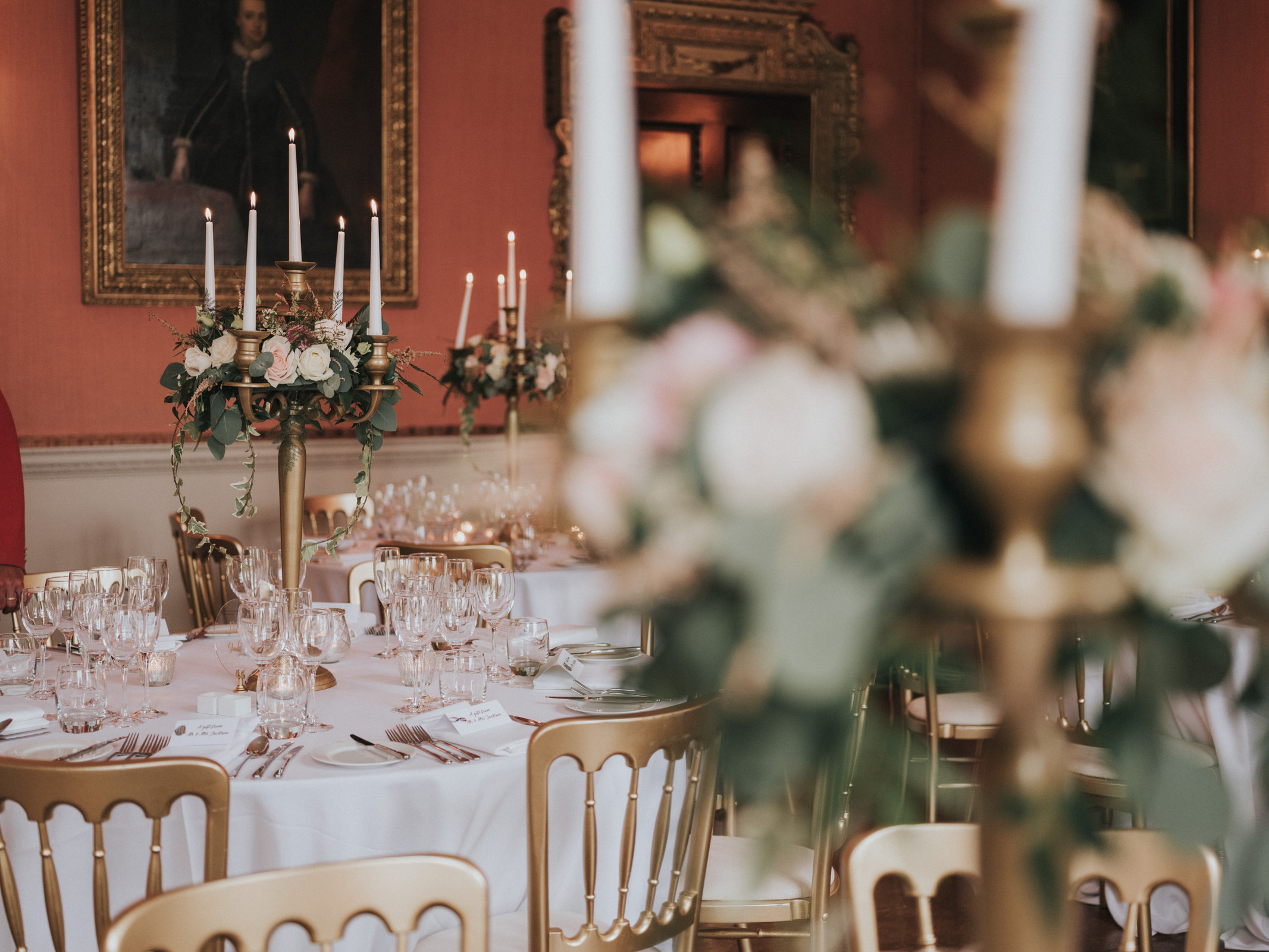 table flowers gold candelabras Holdenby