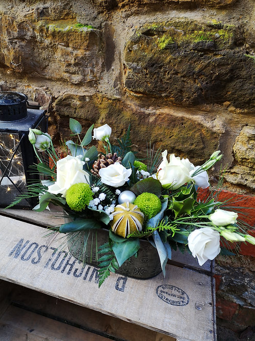 Frosted White Christmas Trug Arrangement