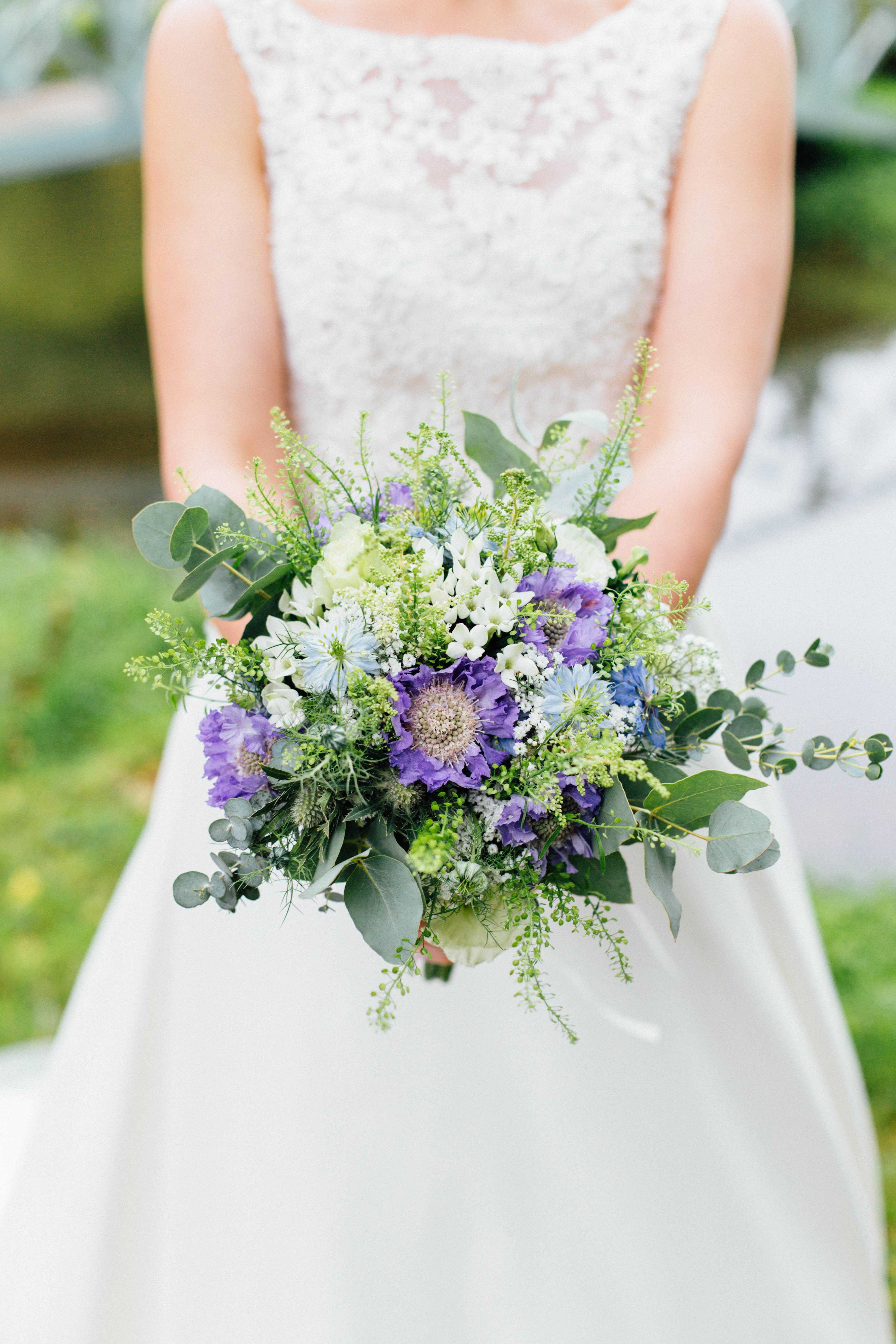bridal bouquet small blue wedding rustic