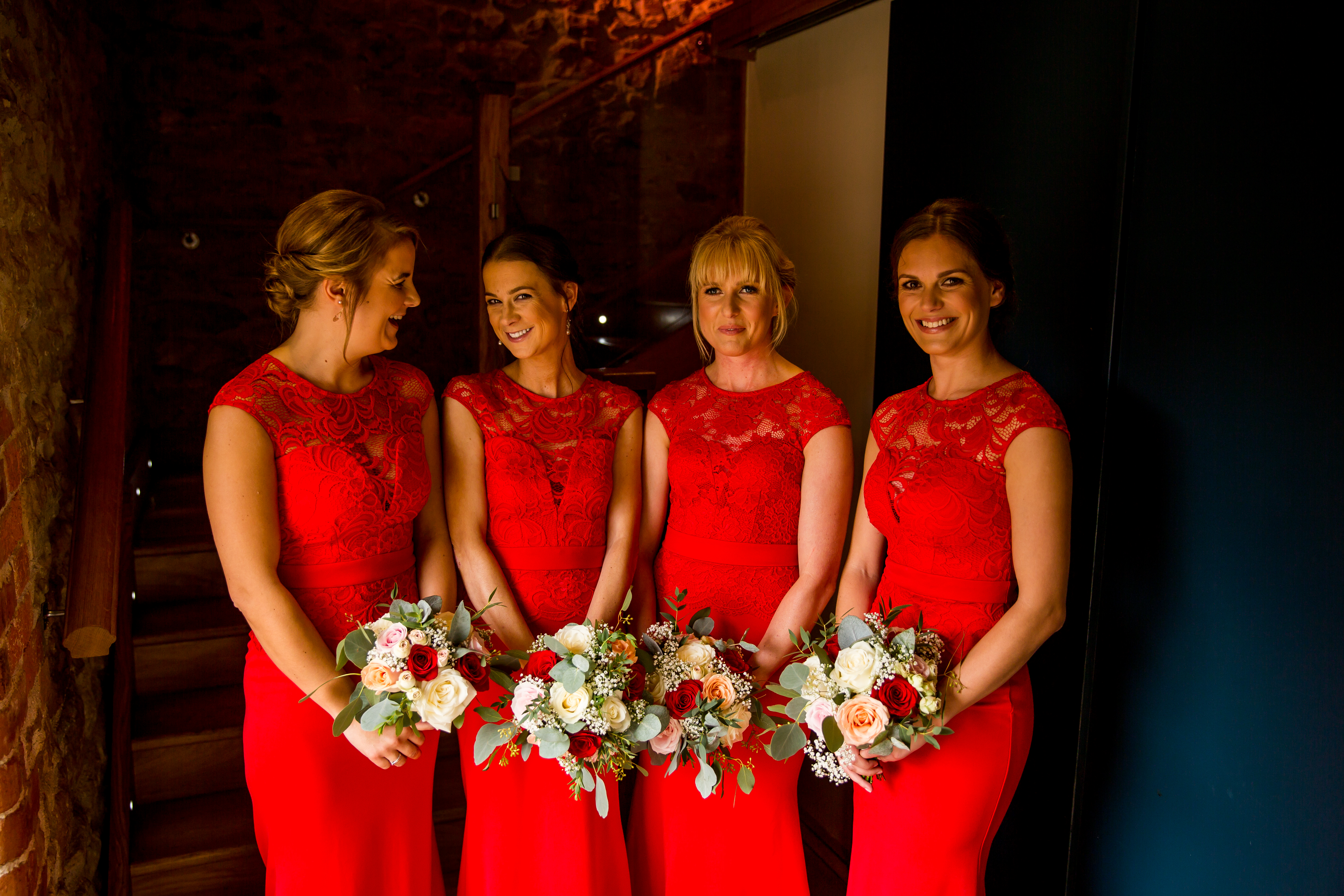 bridesmaid bouquets red wedding dodford