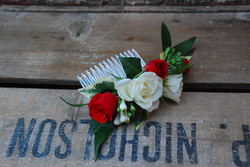 bridal hair flowers with love and roses.
