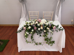 ceremony flowers table spray top table f