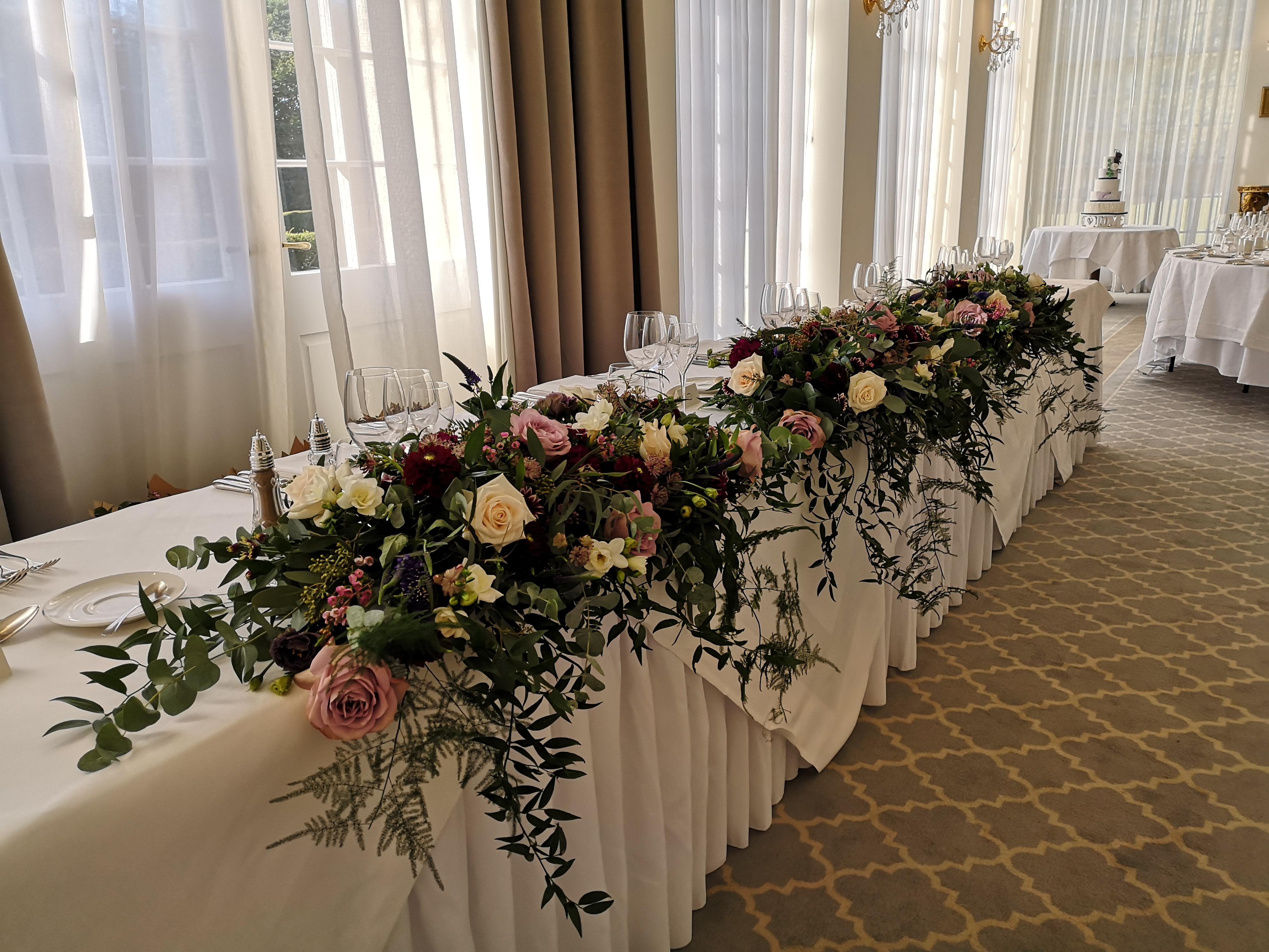 reception decoration Rushton Hall withlo