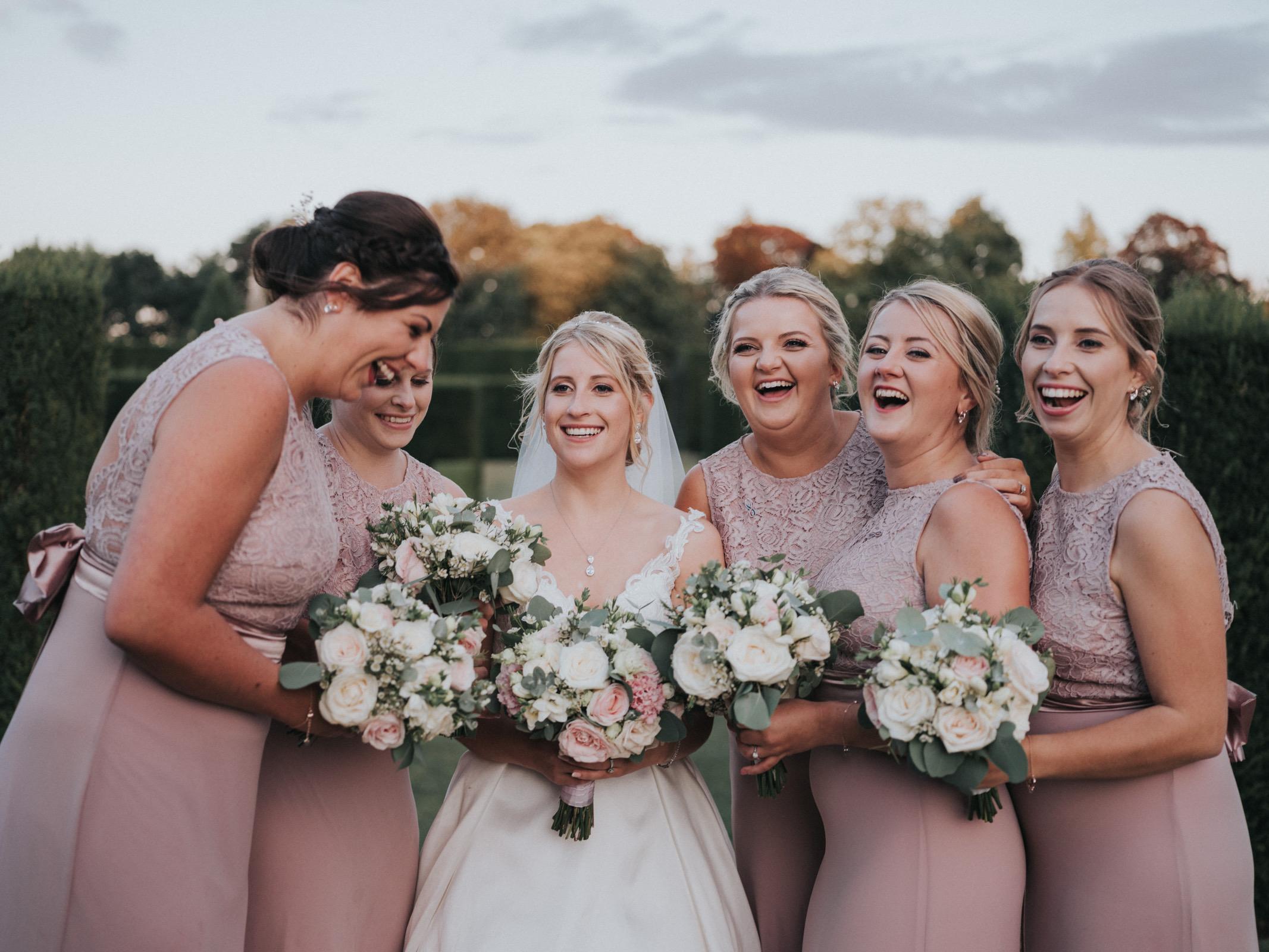 bridesmaid flowers blush pink wedding wi
