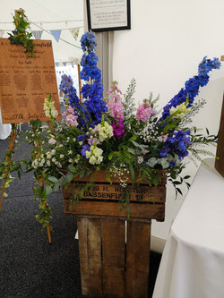 reception decoration crates filled with