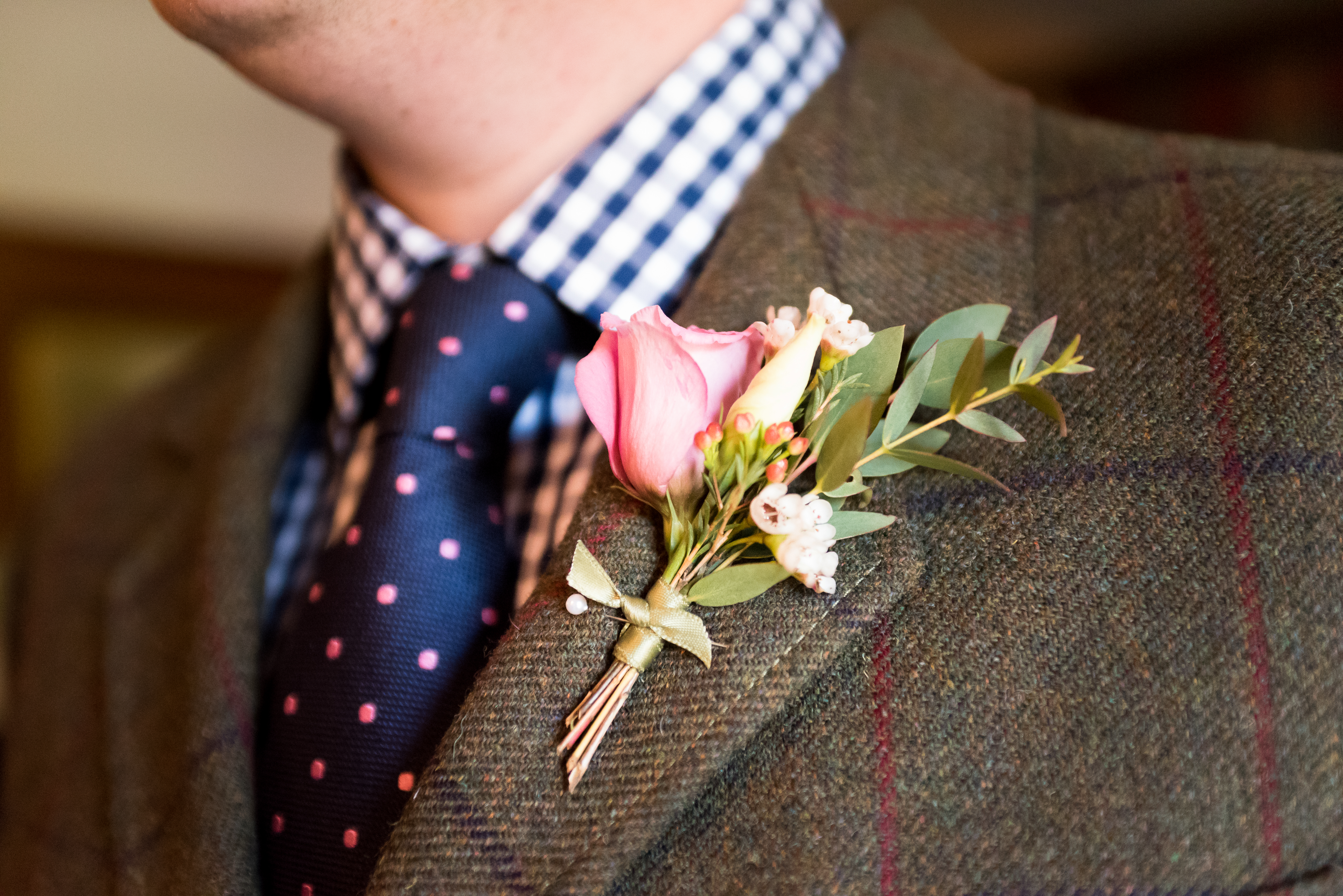buttonhole rustic tweed twine with love
