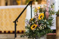 church decor milk churn pedestal arrange