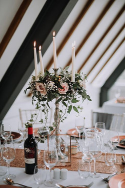 Table Centre Candleabra Flowers Wood Far