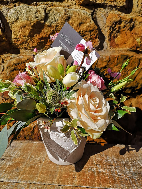 Mother's Day Arrangement in Ceramic Heart pot (LOCAL DELIVERY ONLY)
