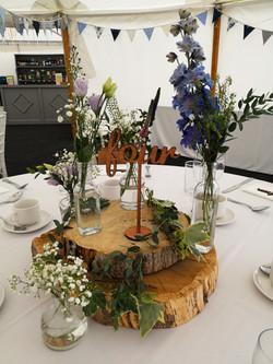 reception decoration rustic wedding log