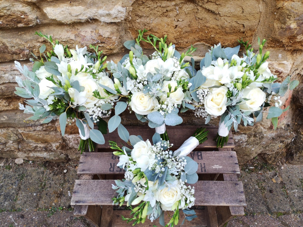 bridesmaid bouquets white rustic summer