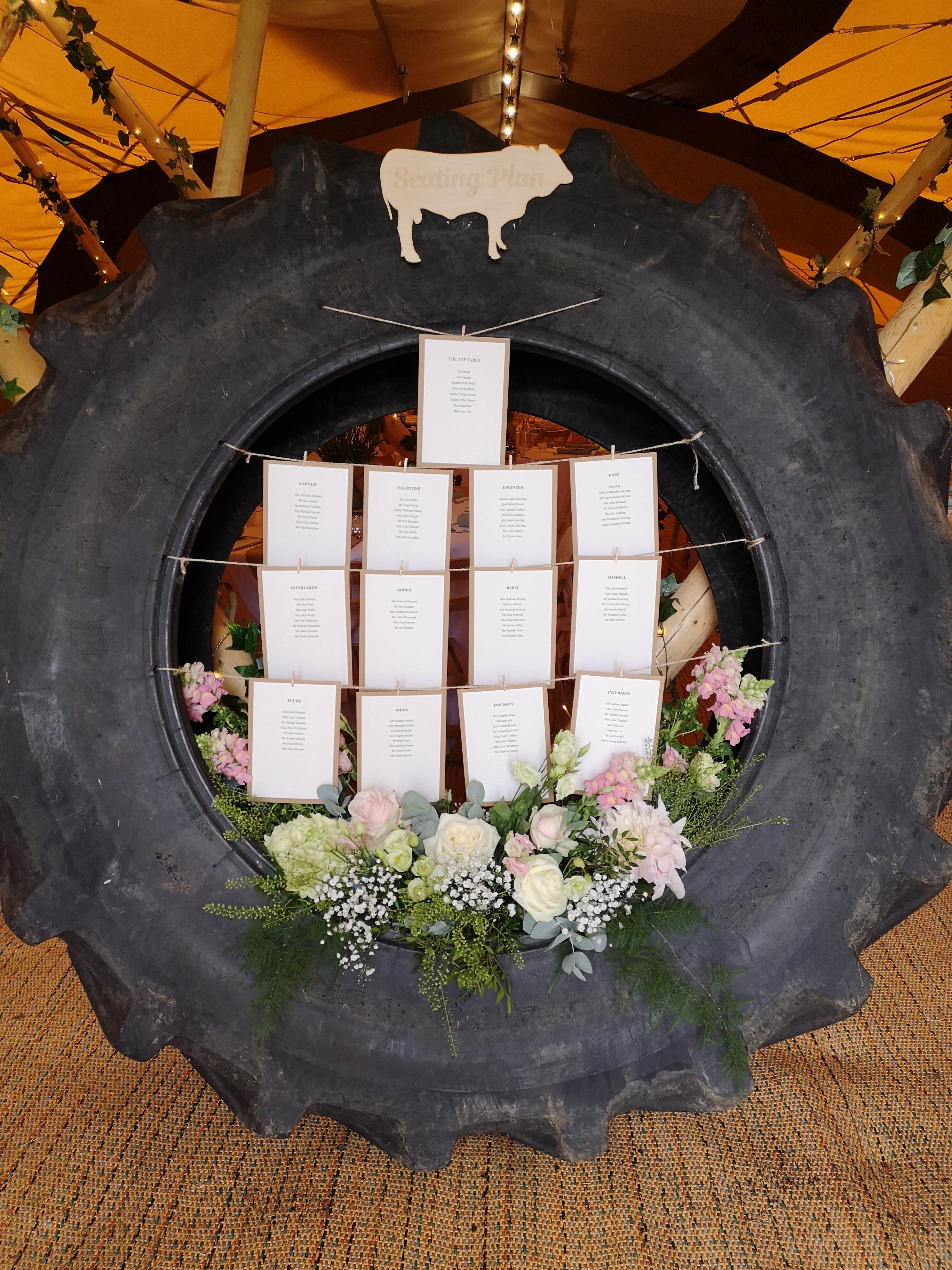 reception decoration tractor tyre table