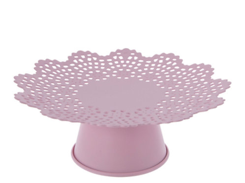 Large Pink Scalloped Cake Stand Rental