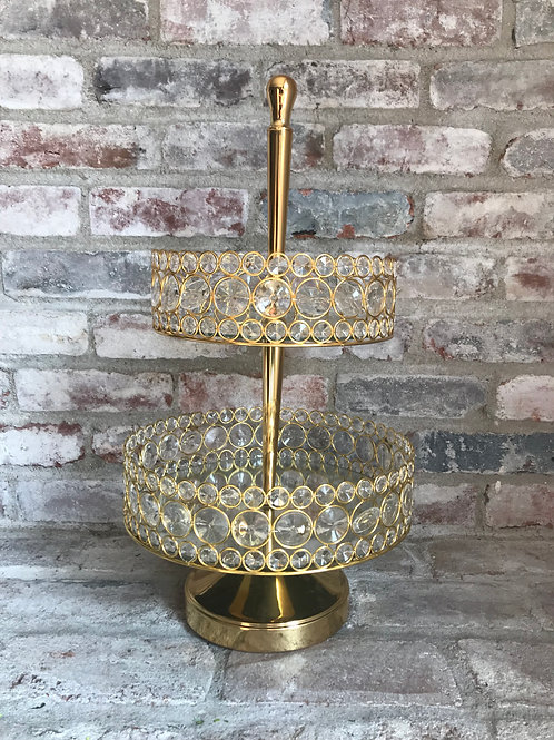 Gold Two Tier Mirror Stand Rental