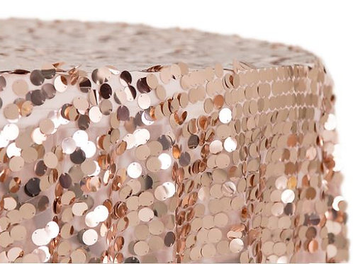 Payette Sequin Round Rose Gold Tablecloth Rental