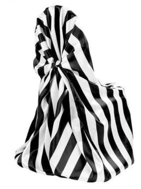 Universal Satin Self Tie Chair Cover – Stripe Black & White Rental