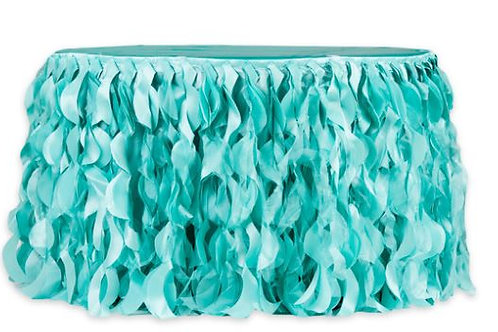 Turquoise Curly Willow 17ft Table Skirt Rental