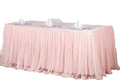 Boho Blush Pleated Lace Table Skirt Rental