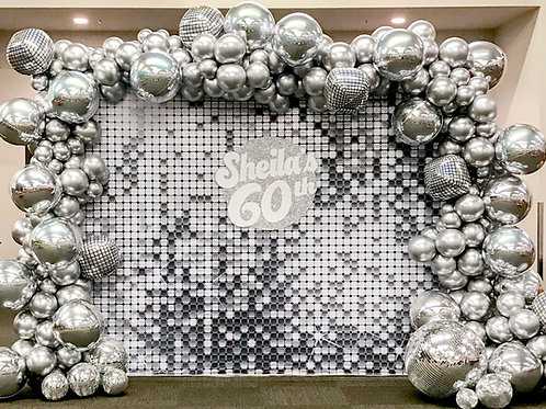 Silver Tile Backdrop Rental