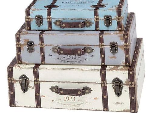 Three Piece Vintage Wood Trunk Set Rental