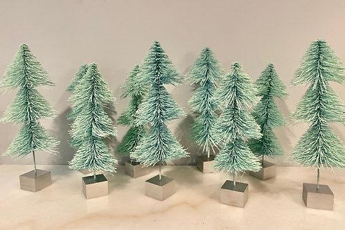 Mint Bottle Brush Trees Rental, Set of 9