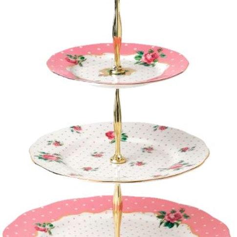 Pink Roses Vintage 3-Tier Cake Stand Rental