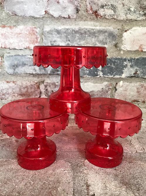 Red Acrylic Cupcake Set Rental