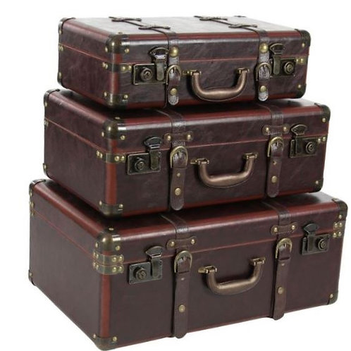 Three Piece Wood and Leather Trunk Set Rental