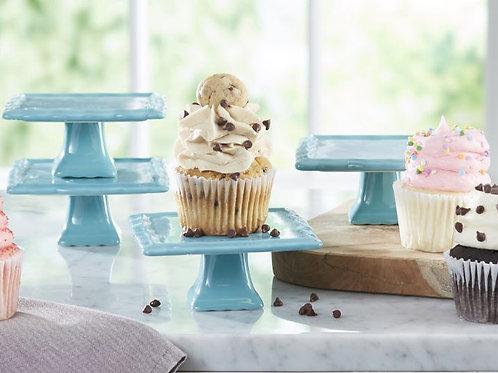 Blue Cupcake Square Stand Set Rental