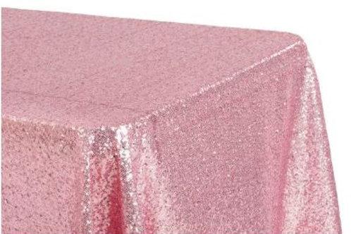 Pink Sequin Rectangular Tablecloth – Rental
