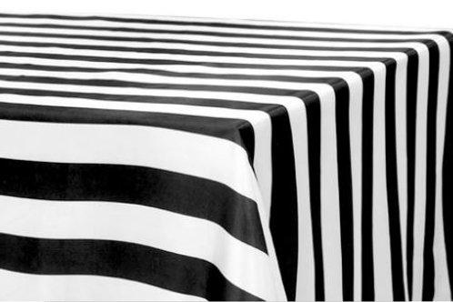 Black & White Stripe Tablecloth Rental