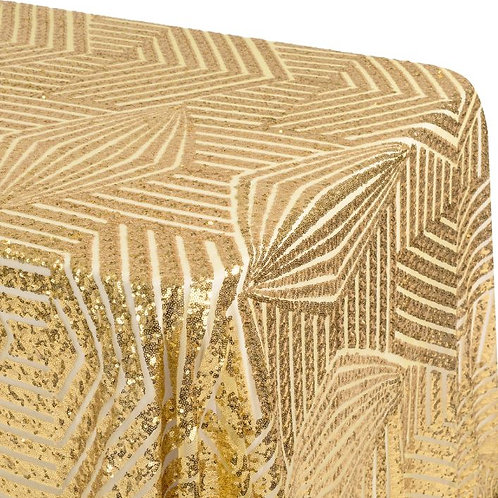 Art Deco Sequin Gold Tablecloth Rental