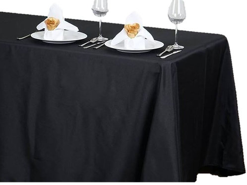 Black Polyester Rectangle Tablecloth Rental