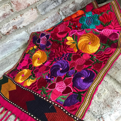 Mexican Floral Embroidered Table Runner - Rental