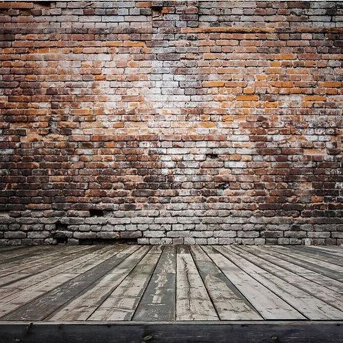Brick Wall and Hardwood Floor Backdrop Rental