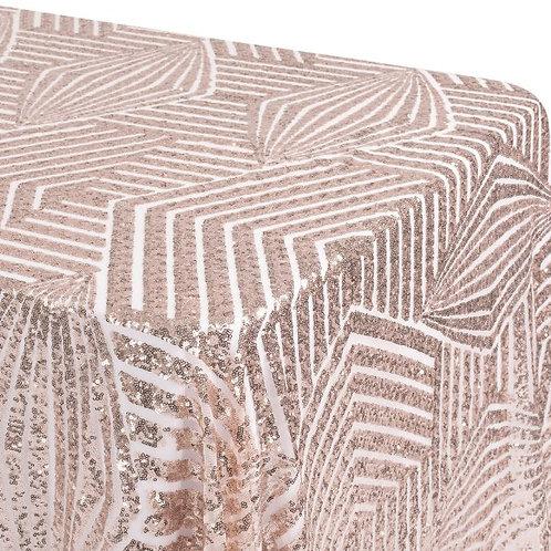 Art Deco Sequin Rose Gold Tablecloth Rental