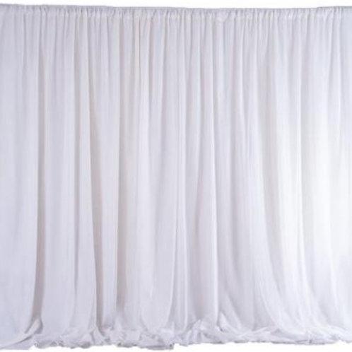 White Double Layer Chiffon Backdrop Rental