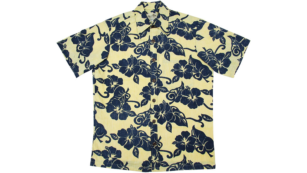 Y-Placket Cotton 100% Yellow Aloha Shirt [YH-01]