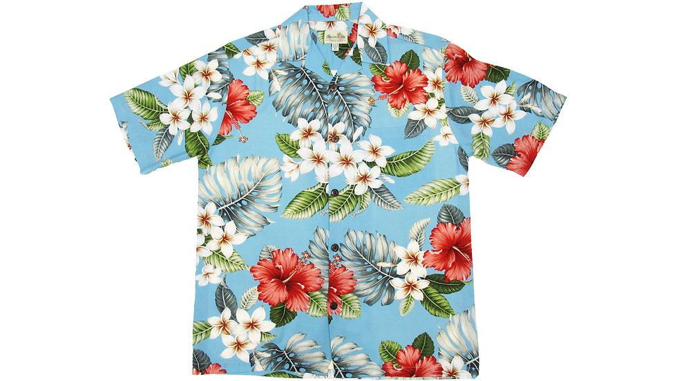 Rayon 100% Blue Aloha Shirt [RH-11]