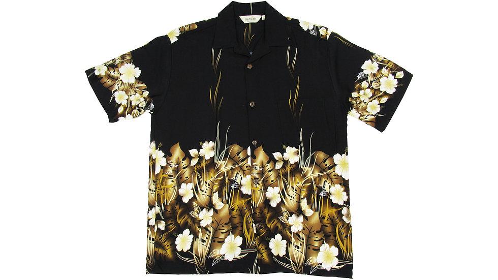 Rayon 100% Black Aloha Shirt [RH-07]