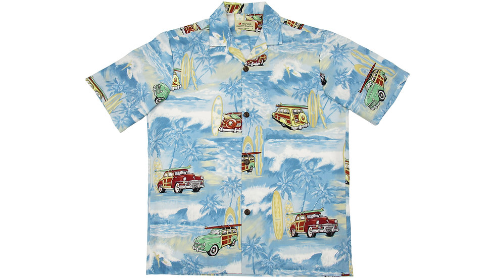 Cotton 100% Blue Aloha Shirt [CH-15]