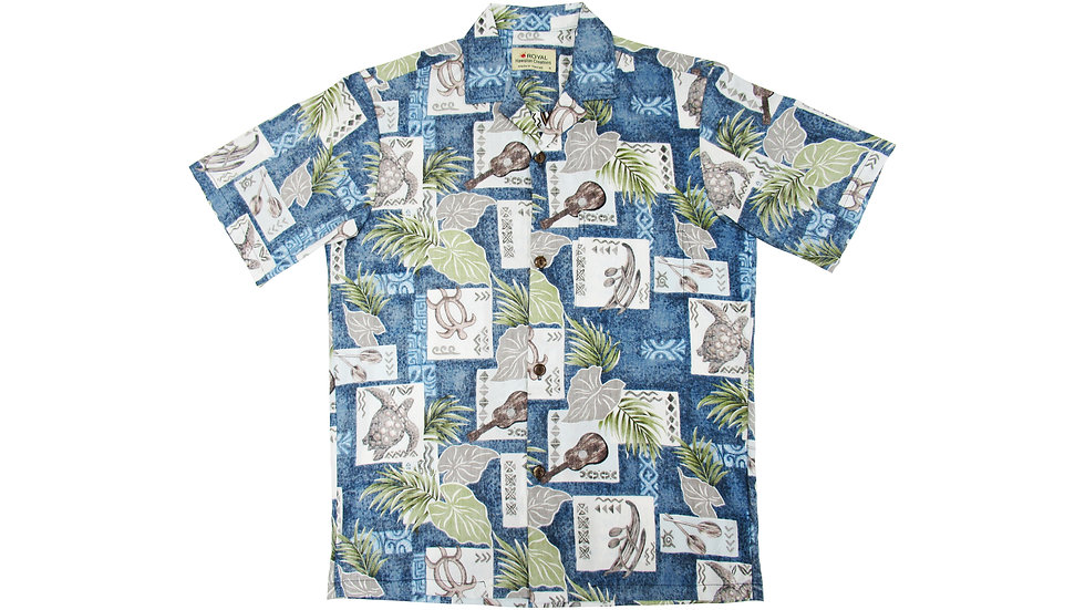 Cotton 100% Blue Aloha Shirt [CH-08]