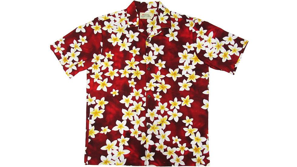 Cotton 100% Red Plumeria Aloha Shirt [CH-03]