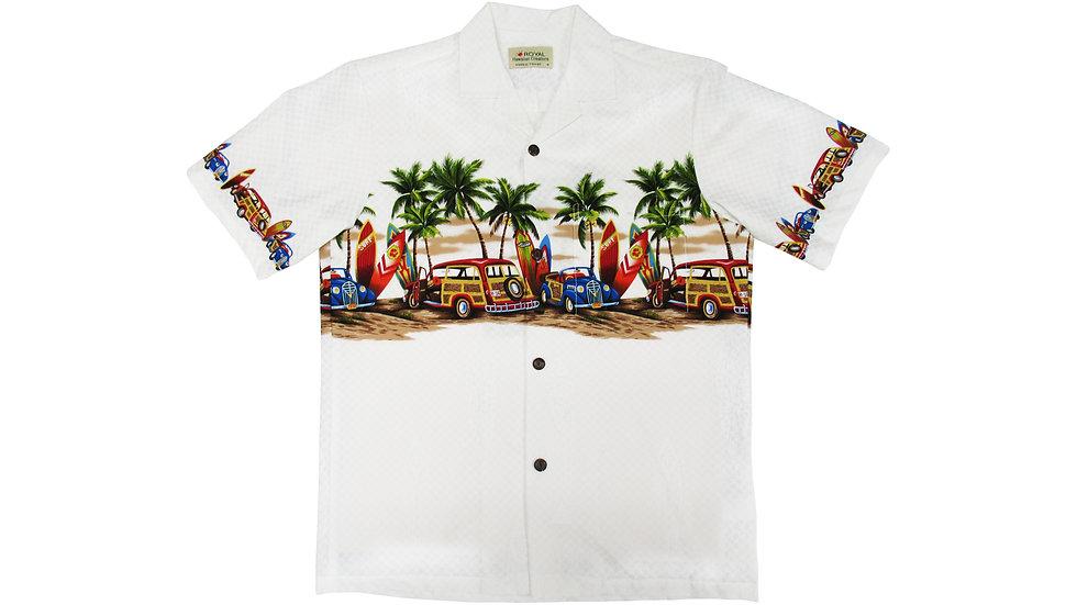 Cotton 100% White Aloha Shirt [CH-12]