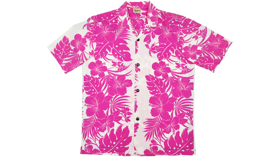 Poly-Cotton Pink Aloha Shirt [T-07]