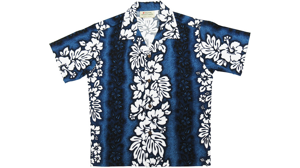 [#32066] Cotton 100% Hibiscus Panel Boy's Aloha Shirt [CH02]