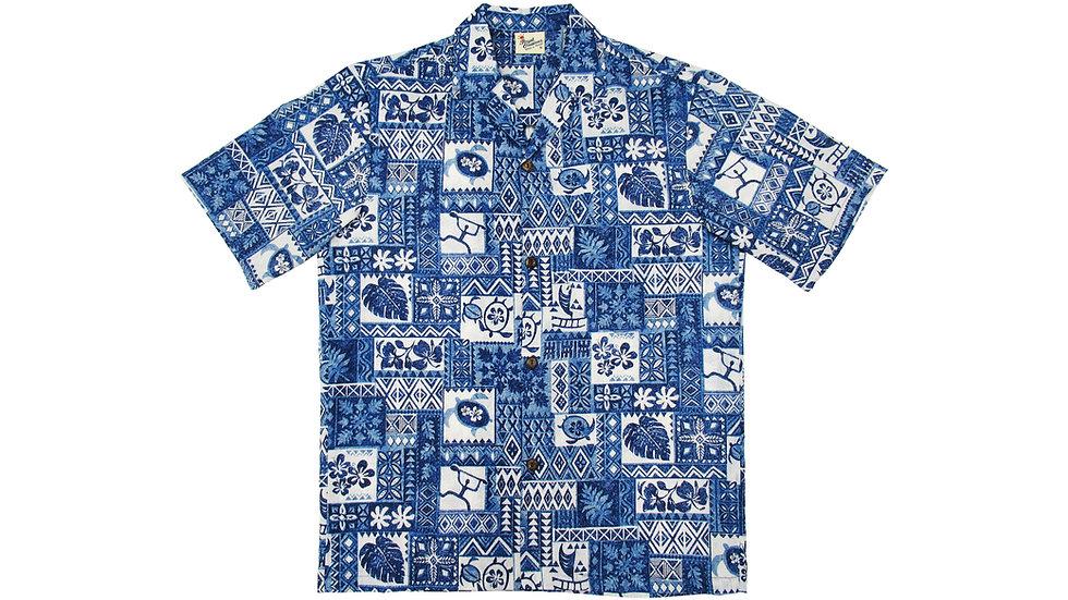 Poly-Cotton Blue Aloha Shirt [T-02]