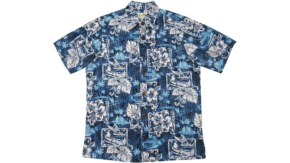 Y-Placket Cotton 100% Blue Aloha Shirt [YH-04]