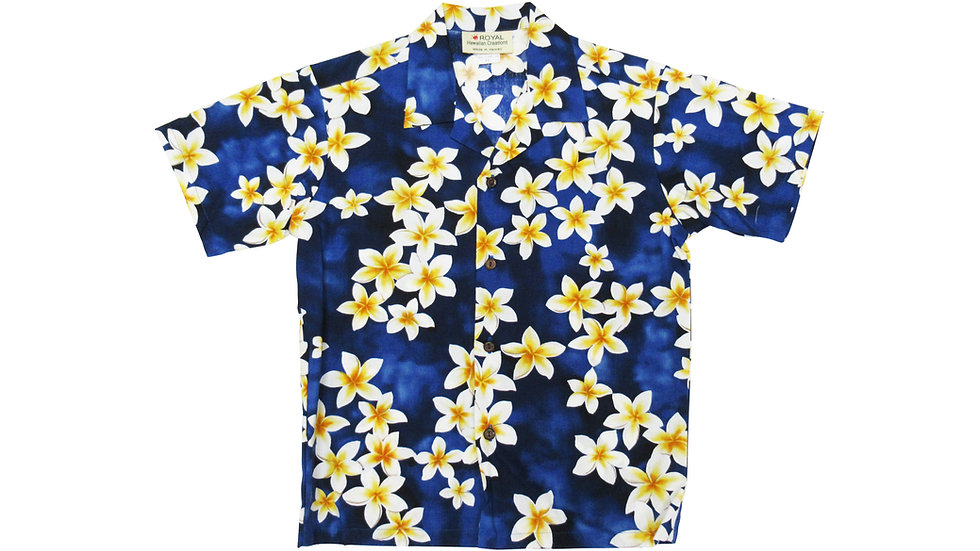 Cotton 100% Plumeria Boy's Aloha Shirt [#32066]