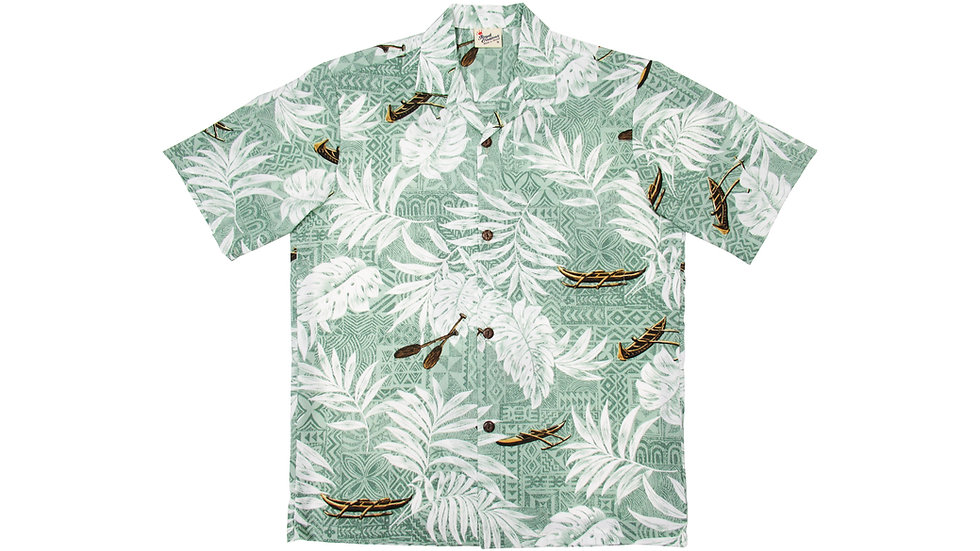 Poly-Cotton Green Aloha Shirt [T-05]